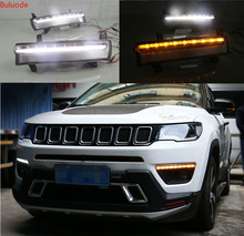 Daytime running light For Jeep Compass 2017 2018 2019 dynamic yellow turn Signal Light style Relay 12V LED car DRL fog lamp osmrk led drl daytime running light for jeep renegade with yellow turn signal wireless switch control