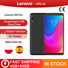 Küresel Lenovo K5 Pro 64GB 128GB Snapdragon 636 Octa çekirdek Smartphone dörtlü kameralar 5.99 inç 4G LTE telefonları 4050mAh
