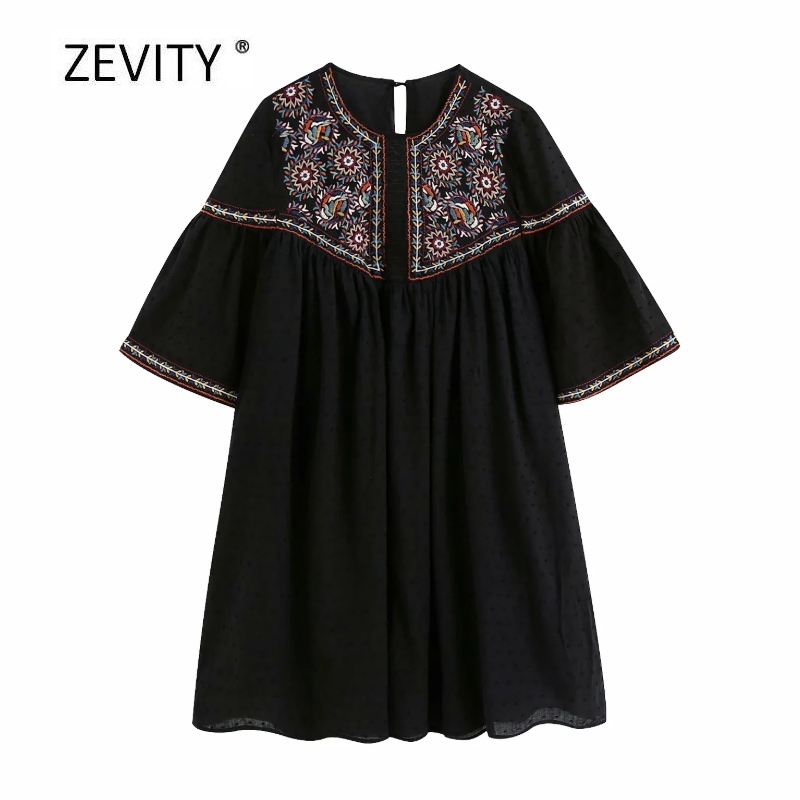 New women vintage round collar embroidery patchwork casual dress national style dot stitching vestido female mini dresses DS4126