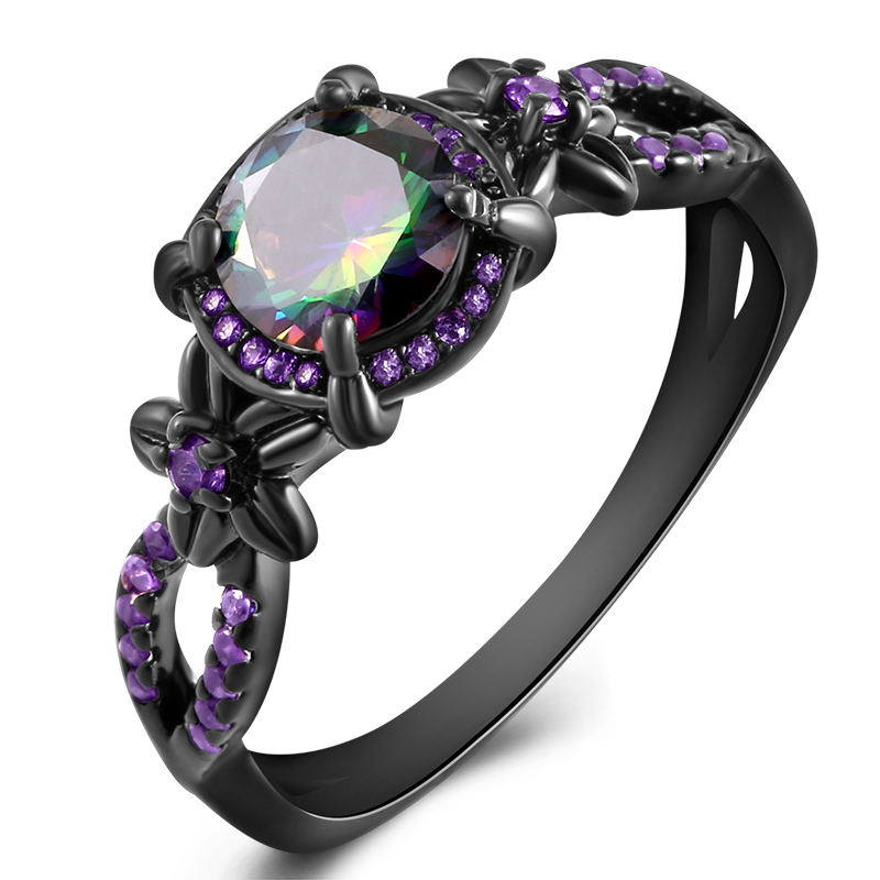 Black Gun Plated Natural Crystal Birthstone Women Rings Geometric Opal Druzy Rings For Party Wedding Gift 11 Colors 3