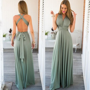 Image 1 - KLBY6995#Various ways of wearing Milk silk fabric fashion sexy red green long formal Evening Dresses wholesale dress dark blue