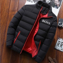 YES BOSS 2020 Winter Jacket Mens Thick Warm Jacket Slim Casual Hooded Male Parka Jacket Men Cotton Thick Parka Jacket Coats