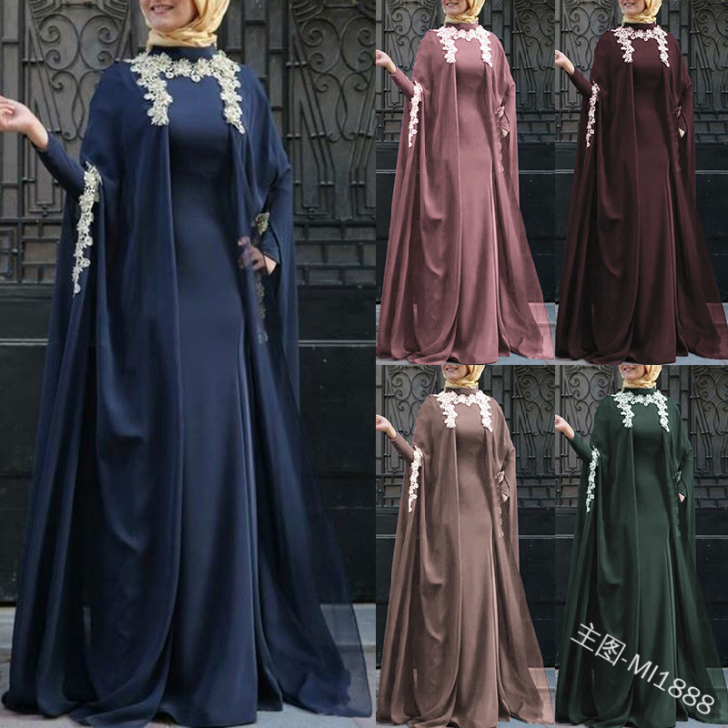 Musulman deux ensembles de robes et capes musulman abaya robes de fête musulmane femmes jilbab abaya dubaï couple vêtements islam