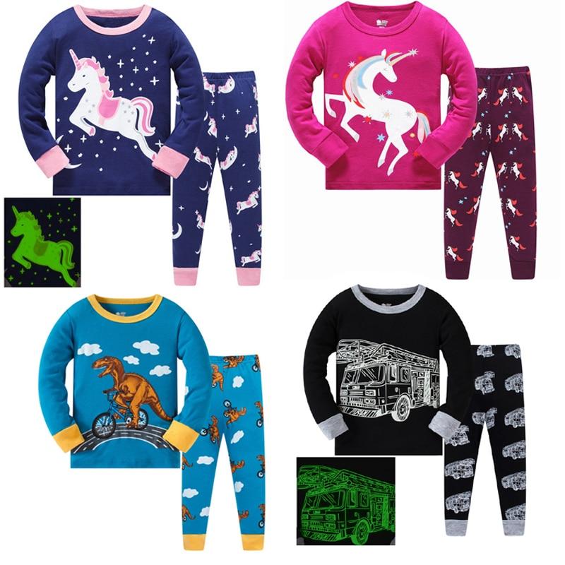 children's   pajamas   Cotton   pajama     set   girl pyjamas boys   pajamas     sets   dinosaur pijama cartoon baby unicorn sleepwear child girls