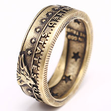 2020 Hit Vintage moneta pierścień gwiazdy wilk Handmade antyczny brąz pierścień Morgan kwiatowy pierścień Retro męska Hip-hop Punk Totem pierścienie