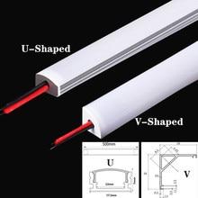 LED hard light DC12V 50CM 20 Inch LED Strip SMD5730 36LEDs U/V-shape Flat LED aluminum channel Rigid Strip For Indoor Lighting