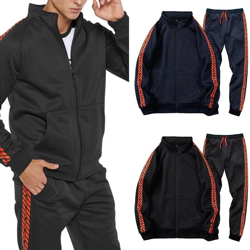 Men's Autumn Winter Tracksuit Zipper Print Sweatshirt Top Trousers Sets Sport Suit Long Sleeve Casual Coat Leisure Sweat Jacket