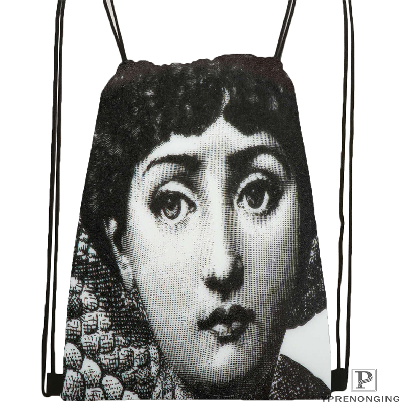 Custom Piero Fornasetti Drawstring Backpack Bag Cute Daypack Kids Satchel (Black Back) 31x40cm#180531-02-66