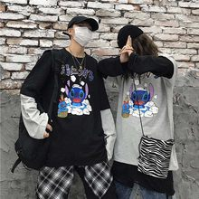 NiceMix Frauen Harajuku Vintage Langarm T Shirt Ulzzang Patchwork Brief Comic Print Lose Oansatz Elastische Frühling Winter Top F(China)