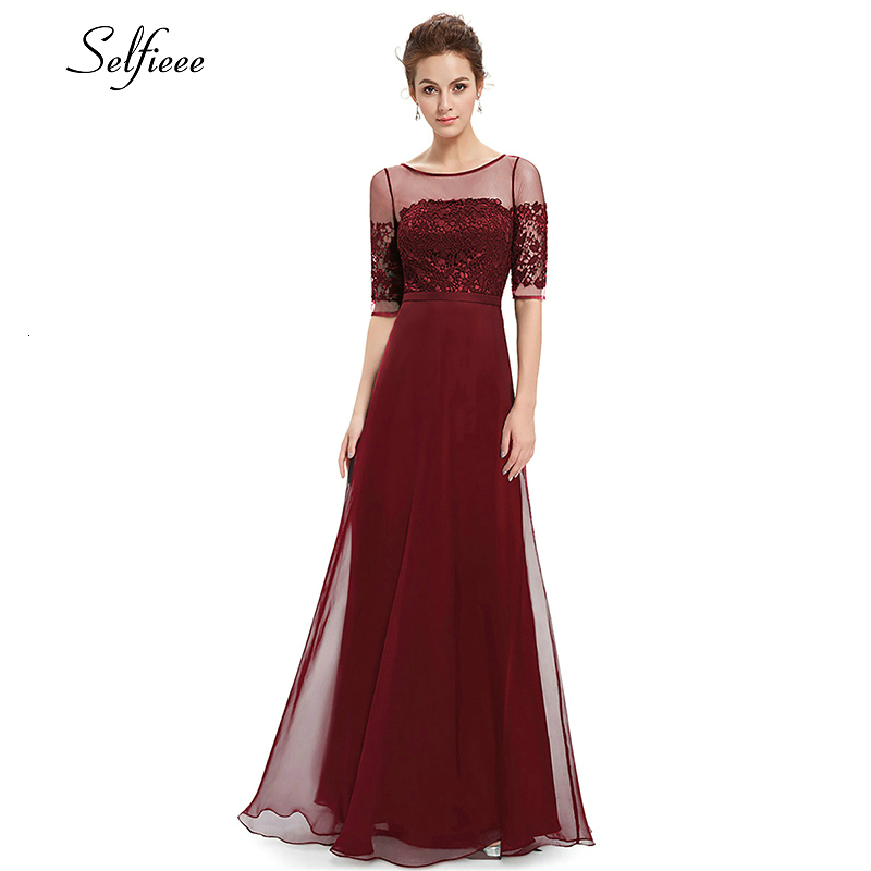 Elegant Burgundy Maxi Dress Half Sleeve O-Neck Cheap Chiffon Party Dress Women Illusion Lace Dress Vestidos De Fiesta De Noche