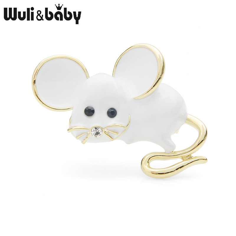 Wuli&baby Big Ear Cute Mouse Brooch Pins For Women and Men White Mice Gift 2019 New Fashion Brooches Jewelry