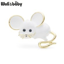 Wuli&baby Big Ear Cute Mouse Brooch Pins For Women and Men White Mice Gift 2019 New Fashion Brooches Jewelry(China)