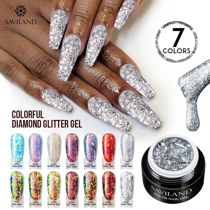 SAVILAND Glitter Gel Nail Polish Shiny Sequins 60 Colors Sliver Gold Holographic Uv Gel Varnish Lacquer Black Primer For Nails