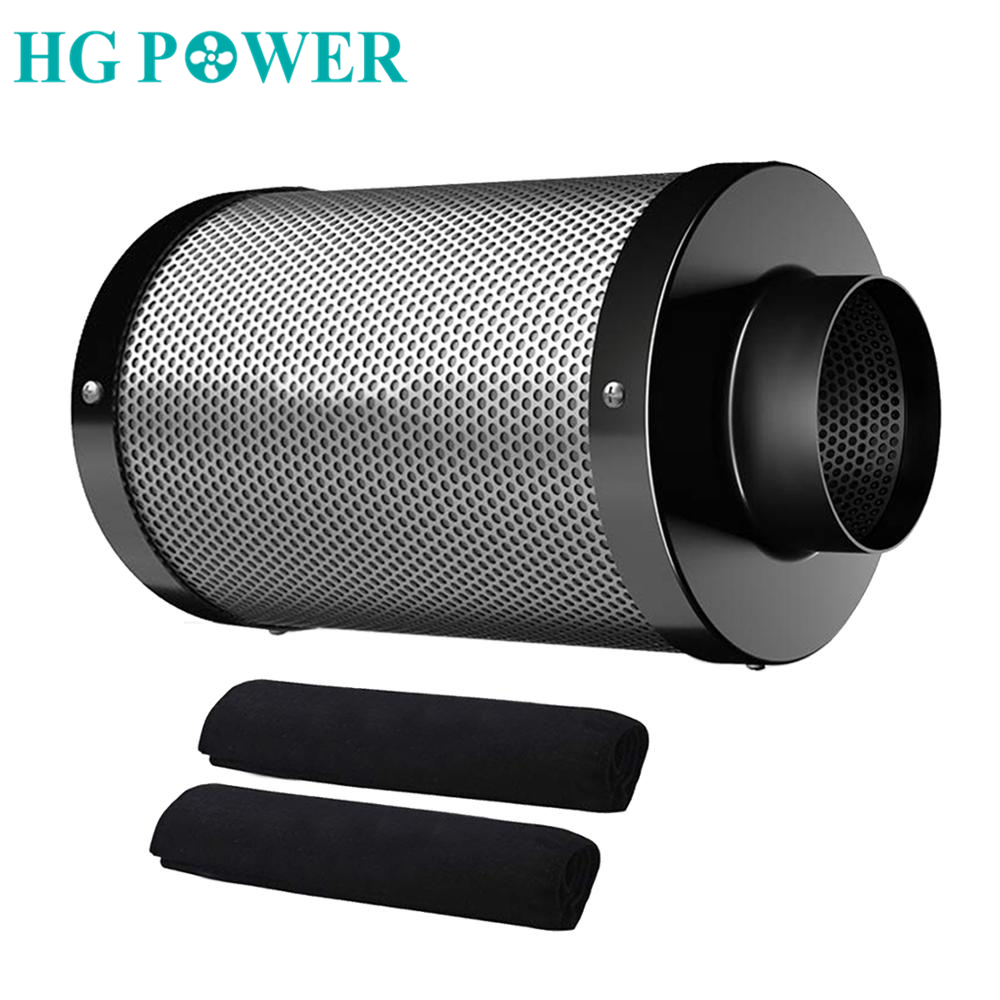 4/6''Air Purifier Carbon Filter For Inline Ducted Fan Hydroponics Activated Carbon Filter For Indoor Plant Grow Tent Greenhouse