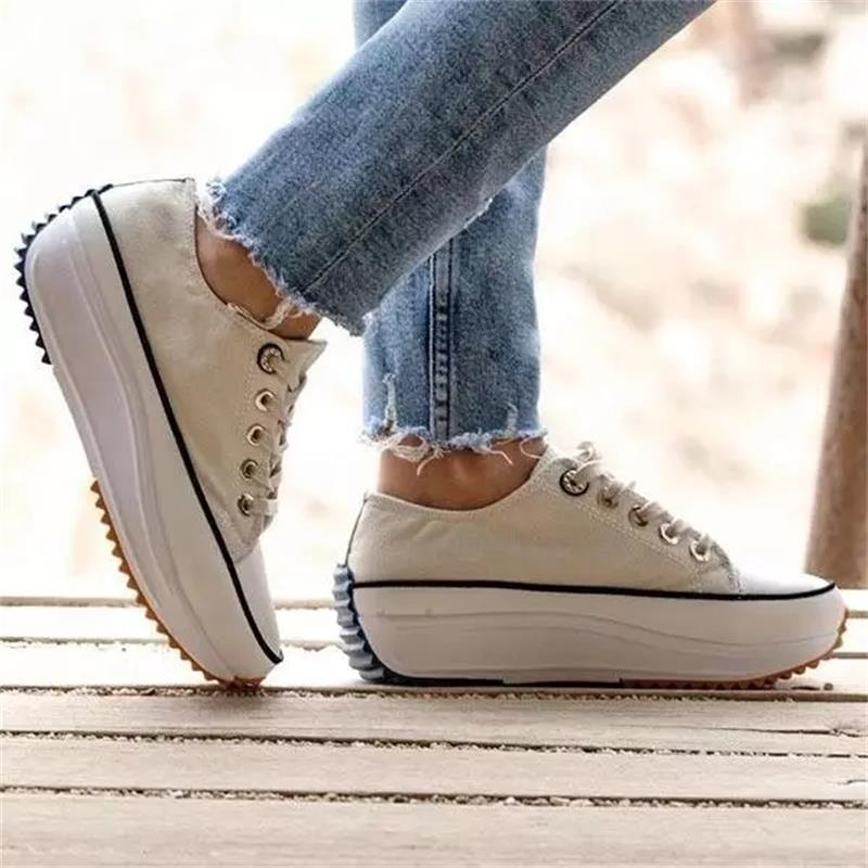 Women's Solid Color Canvas Lace up High heeled Thick soled Breathable Non slip Comfortable Fashion Casual Sneakers ZQ0304 Women's Vulcanize Shoes  - AliExpress