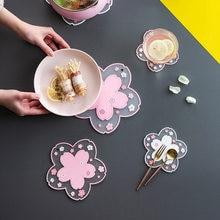 2pcs Japan Cherry Blossom Heat Insulation Table Mat Set Family Office Anti-Skid Tea Cup Milk Mug Coffee Cup Coaster Dish Mat