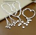 Женский комплект украшений Charmhouse, комплект из 3 предметов из чистого серебра с длинной кисточкой и сердечком, колье, серьги
