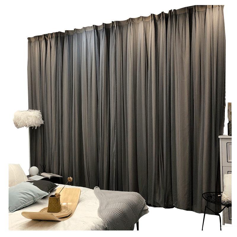 Grey curtain fabric one Nordic simple curtain double shading light luxury living room bedroom modern