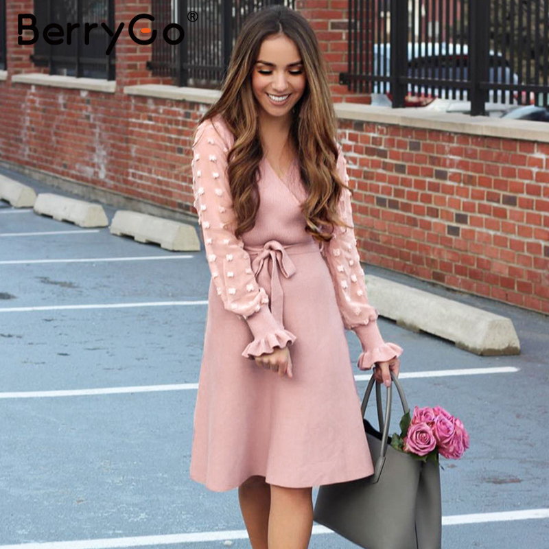 BerryGo Ruffle Long Sleeve Knitted Dress Women V Neck Sashes Female Pleated Dresses High Waist Luxury Autumn Winter Office Dress