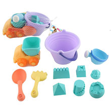 Summer Plastic Sand Play Set Children Seaside Soft Silcone Car 11 Pcs Set Sand Playing Tool Spatula Baby Castle DIY Beach Toy AA(China)