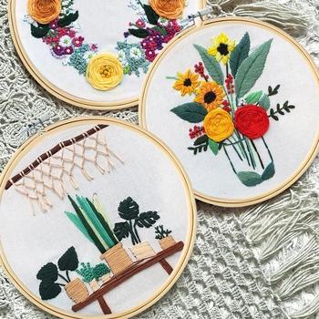 60 wzorów zestaw do haftowania + tamborek bambusowy Punch Needle Craft Diy zestaw narzędzi zestaw koło kwiat ściegu Home Decor tanie i dobre opinie OBRAZY CN (pochodzenie) Z juty Duszpasterska