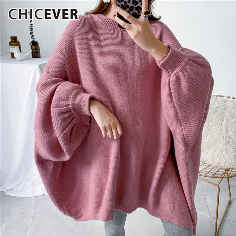 CHICEVER Vintage Sweater For Women O Neck Batwing Long Sleeve Loose Oversized Knitting Pullovers Sweaters Female 2020 New Style