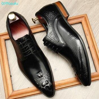 QYFCIOUFU Autumn Lace-Up Men Leather Shoes Italian Vintage Formal Dress Shoes Business Office Genuine Leather Wedding Oxfords цена 2017