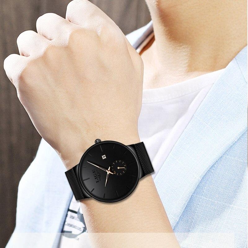 LIGE 2020 Fashion Mens Watches Top Brand Luxury Quartz Watch Men Casual Slim Mesh Steel Waterproof Sport Watch Relogio Masculino