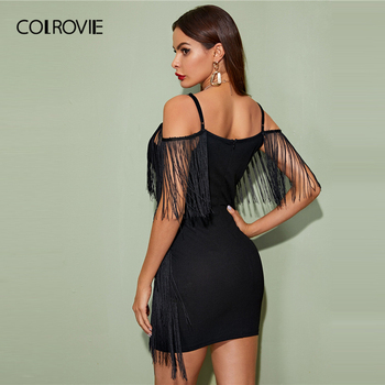 COLROVIE Black Plunging Neck Layered Fringe Cami Bodycon Dress Women Sleeveless Sexy Mini Dress 2020 Spring Slim Pencil Dresses 1
