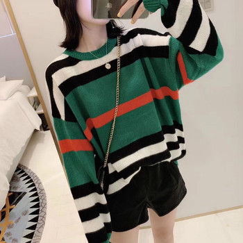 2020 autumn and winter ladies sweater knit sweater striped fashion trend loose casual round neck long sleeve bottoming top seggnice striped loose ladies long sleeve sweater pullover 2020 autumn winter new arrival round neck knit sweaters for women