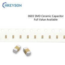 Conjunto de electrónica 100 Uds., 0603 SMD, 5% 10% 1608 110pF-100nF 180pF 33nF 6,3 V 16V 50V 103K 333K, Kit completo disponible DIY