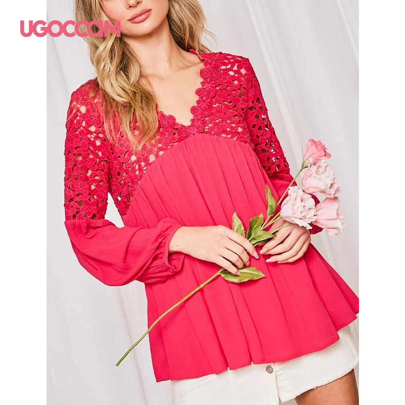 UGOCCAM-Sexy-Women-Lace-Blouses-Tops-And-Blouses-Women-Spring-V-Neck-Long-Sleeve-Hollow-Out
