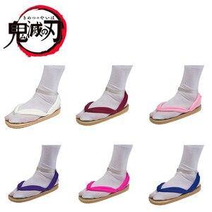 Image 1 - Обувь для косплея по японскому аниме Demon Slayer Kimetsu No Yaiba, танджиру, сандалии Kamado Nezuko Geta, сабо Agatsuma Zenitsu, шлепанцы