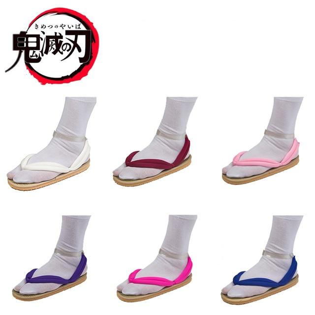 Japanese Anime Demon Slayer Kimetsu No Yaiba Cosplay Shoes Tanjirou Sandals Kamado Nezuko Geta Clogs Agatsuma Zenitsu Flip Flops