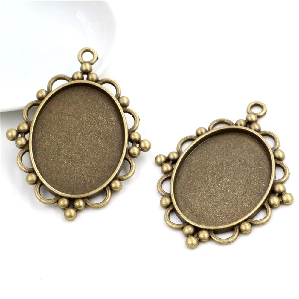 New Fashion 5pcs 30x40mm Inner Size Antique Bronze Pierced Style Cabochon Base Setting Charms Pendant (B2-07)