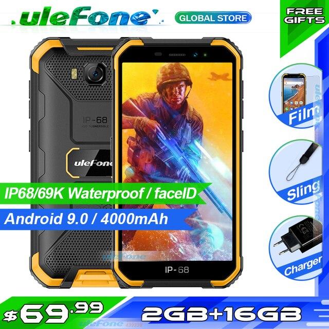 Osłona Ulefone X6 IP68 wodoodporny smartfon MT6580 czterordzeniowy Android 9 odblokowanie twarzą 2GB 16GB, 4000mAh 3G wersja globalna telefon