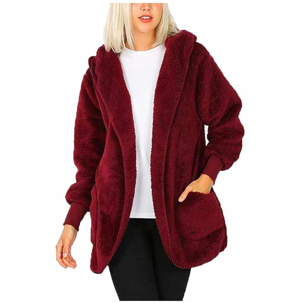 Jaycosin Dames Casual Pocket Pluche Hooded Solid Lange Jas Losse Mode Wilde Jas Populaire Herfst Winter Multi-color Optie