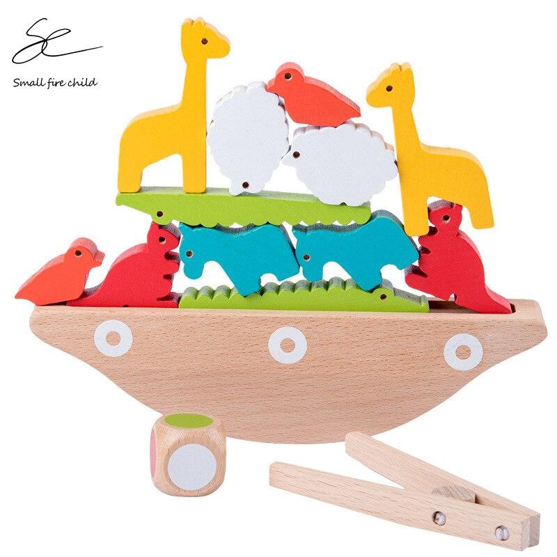New Animal Balance Boat Jenga Building Blocks Puzzle Early Education Wooden Children's Toys Baby Girl Boy Gift