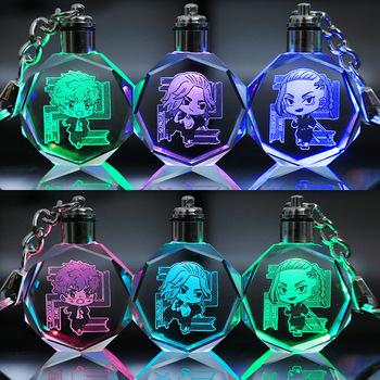 Tokio Revengers Luminous brelok breloczek do kluczy Cut Glass gra kółko do kluczy brelok LED Lights breloki dla dzieci prezent tanie i dobre opinie Disney CN (pochodzenie) Tv movie postaci Szkło 4-6y 7-12y 12 + y 18 + Unisex
