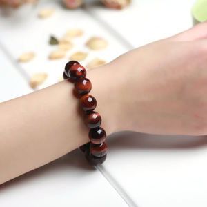 Image 2 - JD Classic 4 18MM Natural Stone Prayer Beads Tiger Eye Bracelet Handmade Red Brown Natural Stone Braclet For Men Yoga Jewelry