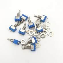 10 pces MTS-101 2 pinos spst ligar-desligar 2 posição ac125v/6a 250 v/3a 6mm azul mini interruptores de alternância