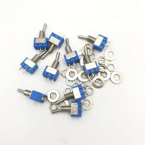 10Pcs MTS-101 2 Pin SPST Switch ON-OFF 2 Position AC125V/6A 250V/3A 6mm Blue Mini Toggle Switches