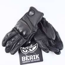 Flambant neuf BERIK rétro Moto gants hommes noir perforé été respirant en peau de mouton tout-terrain rue Moto gants d'équitation XXL