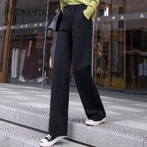 Image 3 - Genayoua Knitting Plus Size spodnie damskie spodnie na co dzień szerokie nogawki wysokiej talii eleganckie spodnie urząd Lady odzież robocza damskie spodnie 2019