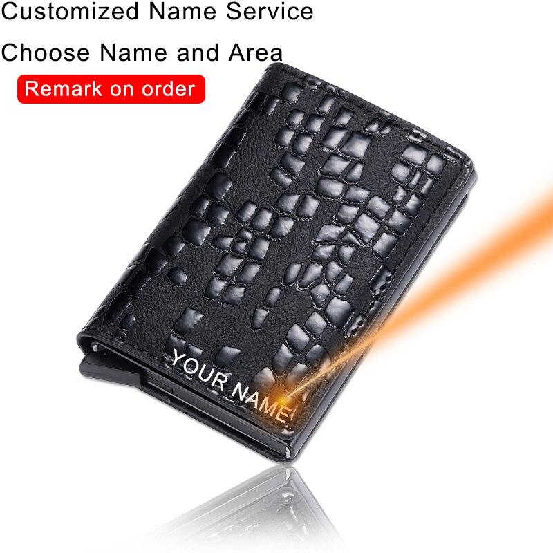 Customized Carbon Fiber Card Wallets Men Brand Rfid Black Magic Trifold Leather Slim Mini Laser Wallet Money Bag Male Purse 2020