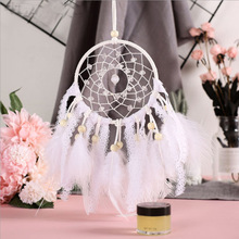 купить Modern Style Feather Wall Hanging Home Decoration Crystal Bead Dream Catcher Lace Woven Mesh Feathers Decoration For Car Decor дешево