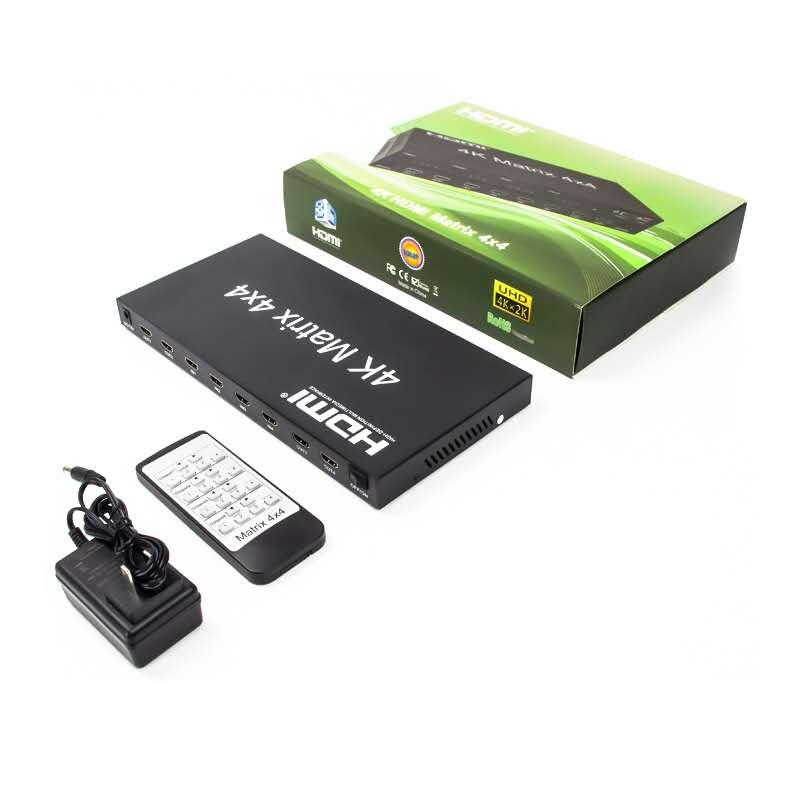 2.0 HDMI Matrix 4x4 4K@60Hz(RGB/YUV 4:4:4)Switch Splitter 4 in 4 out control through RS232 or IR remote HDMI Switcher
