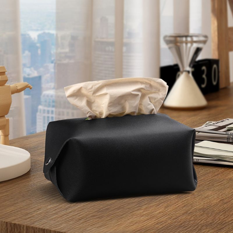 PU Leather Facial Tissue Box Cover Napkin Holder Organizer Pouch Paper Towel Dispenser Container for Home Office Car Decoration