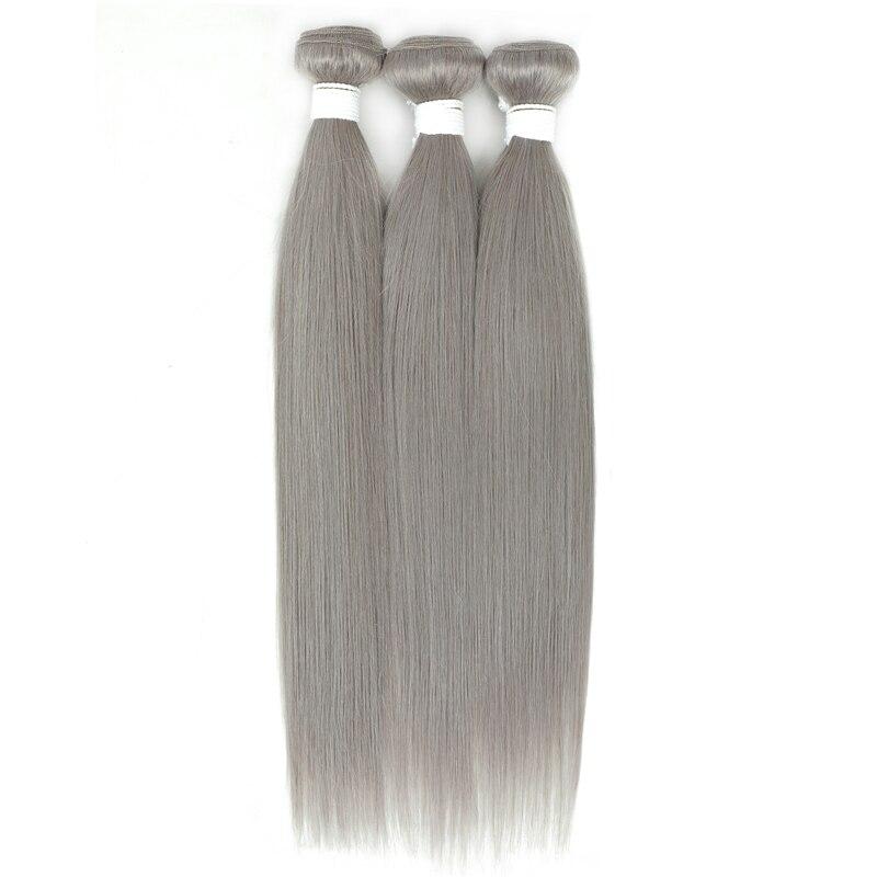 Бразильпряди волос, серебристо-серые пупряди волос, прямые 100% человеческие волосы для наращивания, предварительно окрашенные волнистые во...