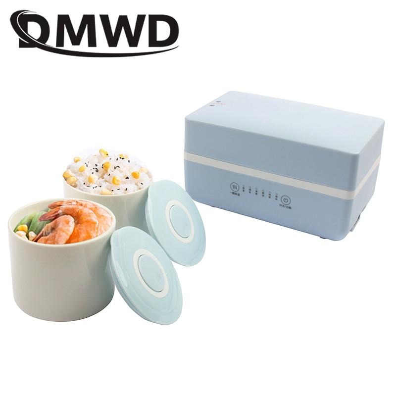 DMWD Электрический нагревательный Ланч-бокс мини суп тушеный горшок рисоварка керамический контейнер для еды Bento Ланчбокс каша подогреватель пищи